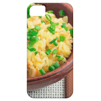 Wooden bowl of cooked rice and vegetables iPhone 5 covers