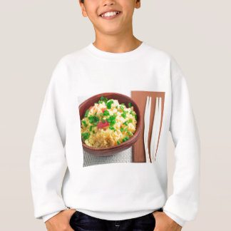 Wooden bowl of cooked rice and vegetables sweatshirt