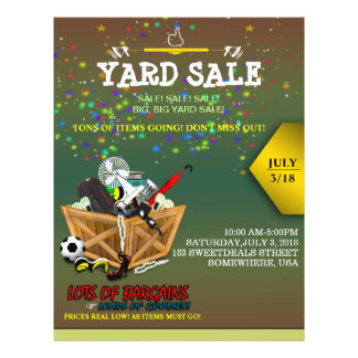 Wooden Box full of Goodies Yard Sale Flyer