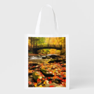 Wooden Bridge and Creek in Fall Market Totes