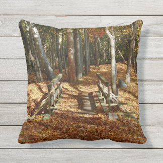 Wooden Bridge Autumn Scenery 2015 Throw Pillow