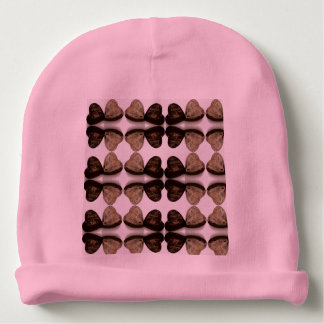 wooden brown heart pink baby beanie