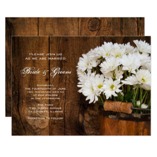 """Wooden Bucket and White Daisies Country Wedding 5"""" X 7"""" Invitation Card"""