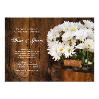 Wooden Bucket and White Daisies Country Wedding Custom Invite