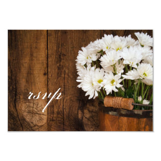 Wooden Bucket Daisies Country Wedding RSVP Card Personalized Invites