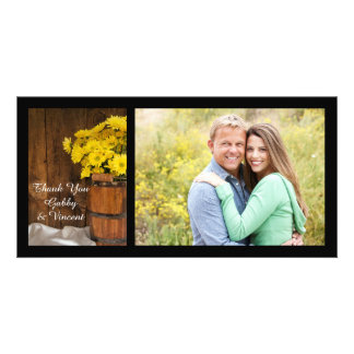 Wooden Bucket Daisies Country Wedding Thank You Photo Card Template