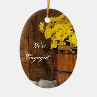 Wooden Bucket Yellow Daisies Country Engagement Ceramic Ornament