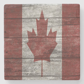 Wooden Canadian Flag Stone Coaster
