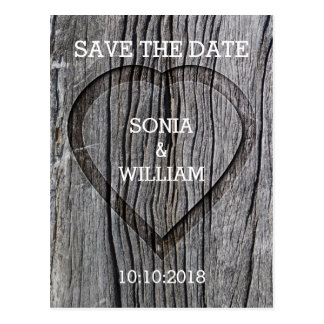 Wooden Carved Heart Save The Date Postcard