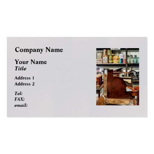 Wooden Cash Register in General Store Business Card Templates