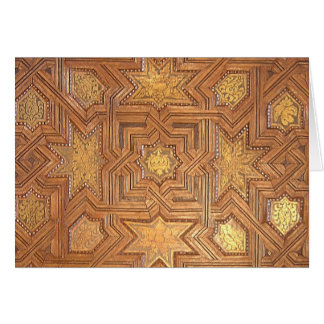 Wooden Ceiling with Golden Stars The Alhambra Greeting Card