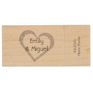 Wooden Chalkboard Heart Wedding USB Photo Storage Wood USB 2.0 Flash Drive