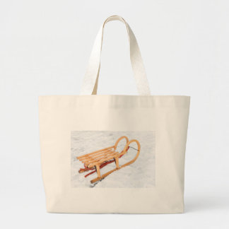 Wooden children sled in winter snow large tote bag