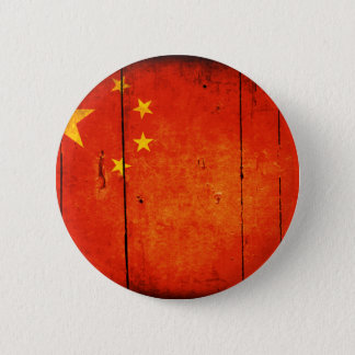 Wooden Chinese Flag 2 Inch Round Button