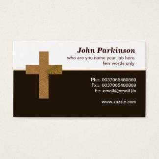 wooden christian cross business card
