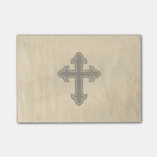Wooden Christian Cross Fleury Rosewood on Maple Post-it Notes