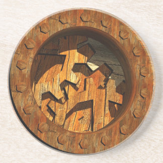 wooden clockwork coaster