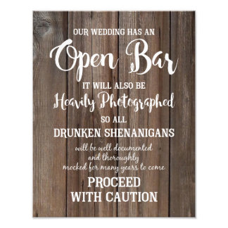 wooden country Barn wedding party OPEN BAR Photo Print