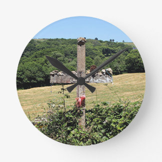 Wooden cross, El Camino, Spain Wall Clock