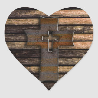 Wooden Cross Heart Sticker