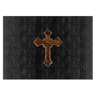 Wooden Cross on Dark Fabric Image Print Cutting Boards