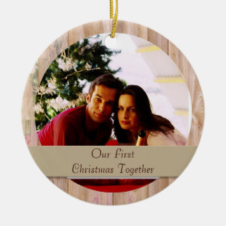 Wooden customizable round photo ornament