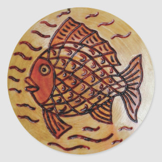 Wooden decor with fish. classic round sticker