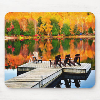 Wooden dock on autumn lake mouse pad