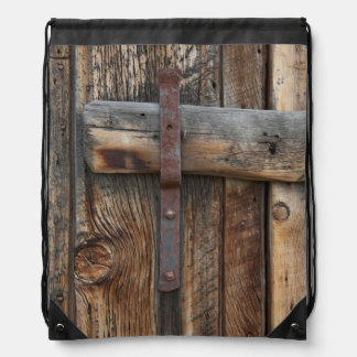Wooden door close-up, California Drawstring Bag