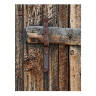 Wooden door close-up, California Postcard
