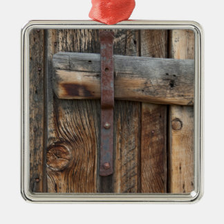 Wooden door close-up, California Silver-Colored Square Ornament