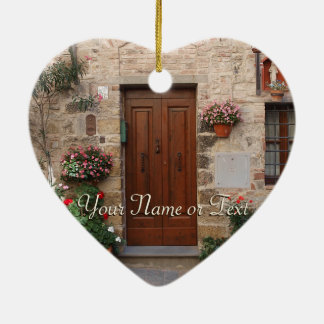 Wooden Door Tuscany Italy Personalized Ceramic Heart Ornament