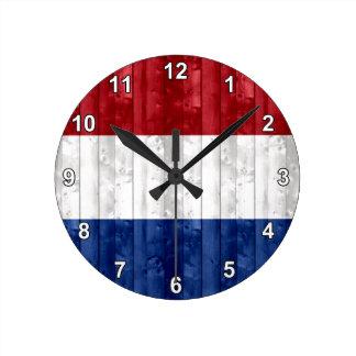 Wooden Dutch Flag Round Clock