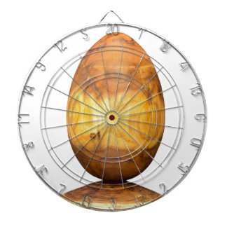 Wooden egg made of acacia tree with bark. dartboard with darts