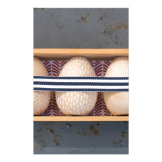 Wooden eggs in a box stationery