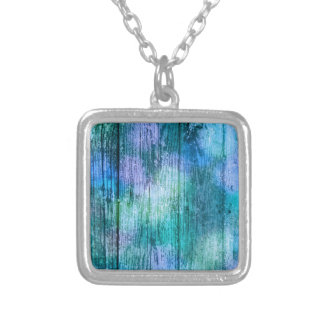 Wooden Fence Graffiti Purple Blue Green Turquoise Silver Plated Necklace
