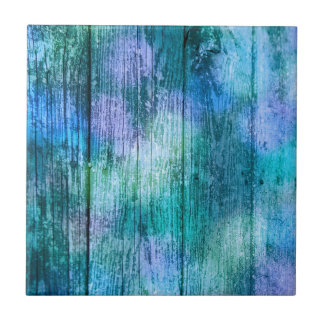 Wooden Fence Graffiti Purple Blue Green Turquoise Tile