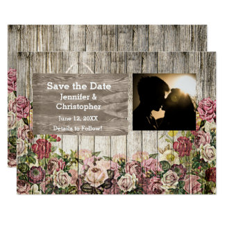 Wooden Fence with Painted Roses Save the Date Card