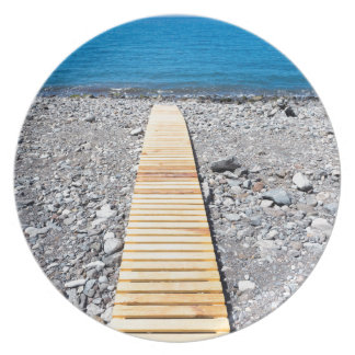 Wooden footpath on beach leading to portuguese sea plate