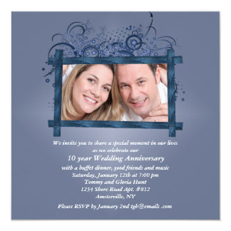 Wooden Frame Angled Photo Invitation
