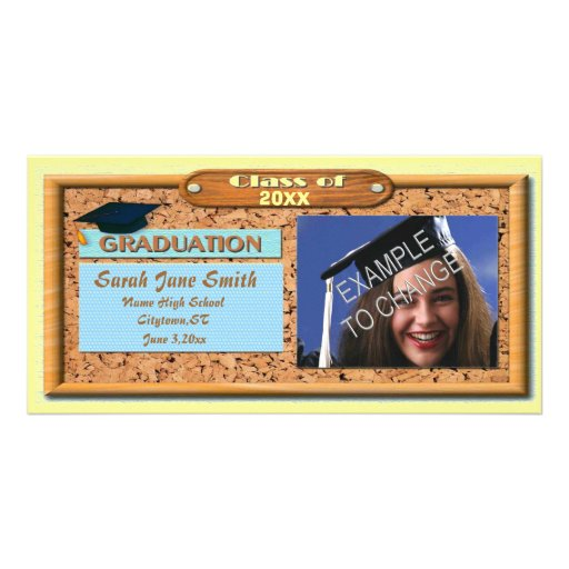 Wooden Frame Graduation Announcement Photo Card