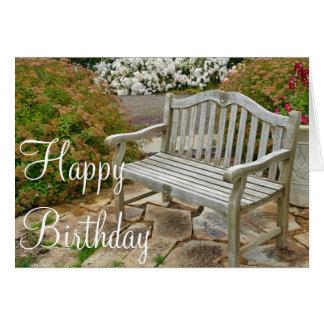 Wooden garden bench Birthday greeting card