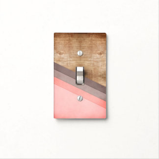 Wooden geometric art light switch cover