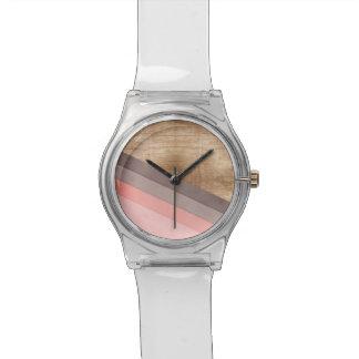 Wooden geometric art wristwatch