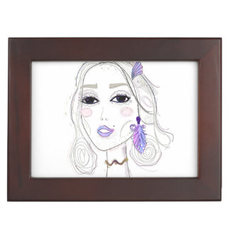 Wooden gift box with stylish Elven girl