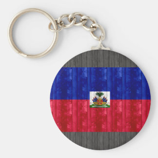 Wooden Haitian Flag Basic Round Button Keychain