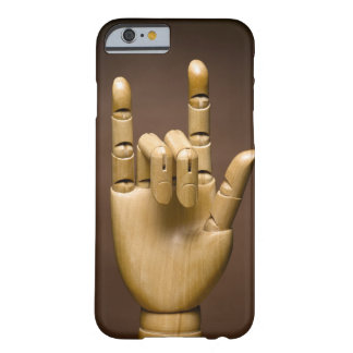 Wooden hand index and small finger extended, barely there iPhone 6 case