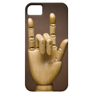 Wooden hand index and small finger extended, case for the iPhone 5