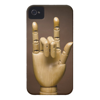 Wooden hand index and small finger extended, iPhone 4 case