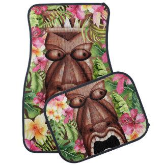 Wooden Hawaiian Tiki Luau Island Summer Floral Car Mat